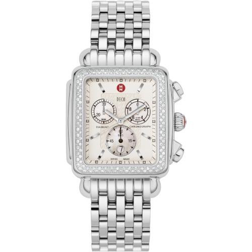 Michele Woman's MWW06J000008 Deco XL Diamond Stainless Steel Bracelet Watch