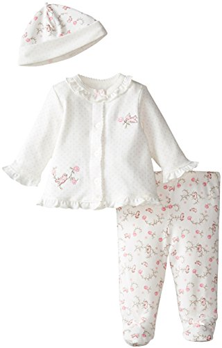 Little Me Baby-Girls Newborn Lovebirds Take Me Home Set, White Print, 6 Months