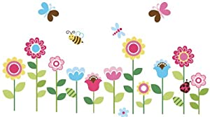 Garden Flowers Baby Nursery Peel & Stick Wall Sticker Decals by Cherry Creek