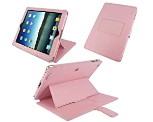 rooCASE Convertible Genuine (Pink) Leather Case for 4th Generation iPad with Retina Display / the new iPad 3rd / Apple iPad 2 (Automatically Wakes and Puts the iPad to Sleep)