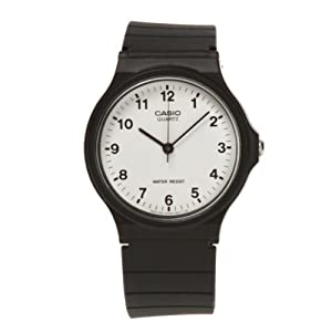 Casio MQ24/7B Unisex Quartz Watch with White Dial Analogue Display and Black Resin Strap