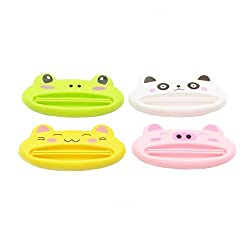 Pasow 4 pcs mix designs Cartoon Animal Plastic Frog Cat Panda Pig Shaped Toothpaste Cream Squeezers
