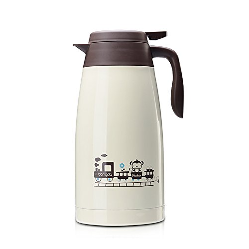 68 Oz Stainless Steel Thermal Carafe / Double Walled Vacuum Thermos / 24 Hour Heat Retention, Beige