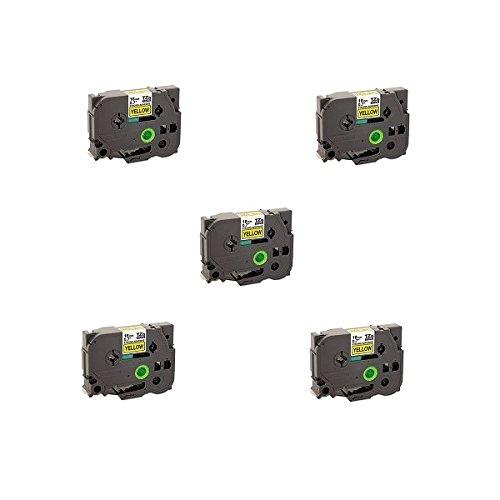 Prestige Cartridge Nastro per Etichette, Sostituisce TZS641/TZeS641, 18mm x 8m, 5 Pezzi, Nero su Giallo