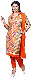 Raahi Unstitched Beige Cotton Embroidered Dress Material - Salwar Suit