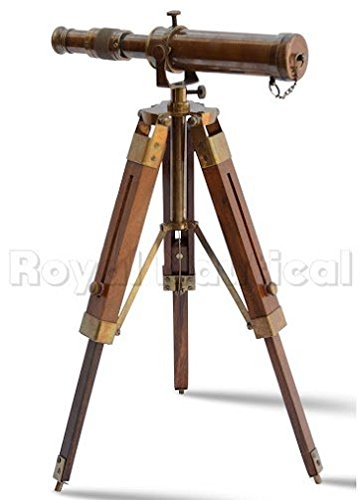 Nautical Brass Antique Telescope Spyglass With Wooden Stand Home Decor Gift 3