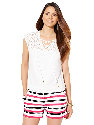 New York & Co. Women's - Lace-Up Lace Panel Top - Paper White Large (New York And Company Tops compare prices)