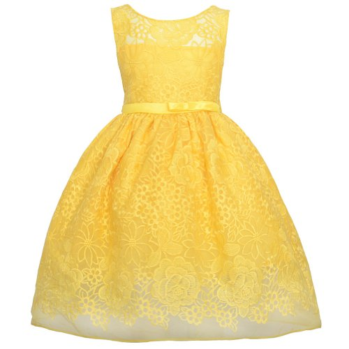 Sweet Kids Yellow Embroider Lace Overlay Easter Dress Little Girl 6 front-10944