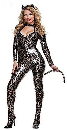 Girls/womens Sexy Leopard Leather Cat Hallowmas Costume Catwoman Bodysuit