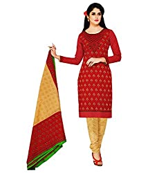 Shree Ganesh Red Cotton Printed Unstitched Churiddar Suit with Dupatta