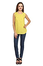 Fashionite Poly Georgette Yellow Top For Women Size-L