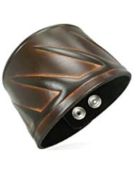 Urban Male Tribal Design Men's Leather Bracelet 50mm Wide