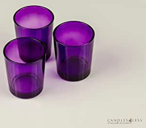 72 pieces purple glass votive candle holders bulk purple home kitchen. Black Bedroom Furniture Sets. Home Design Ideas