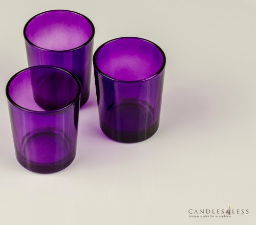 Purple Glass Votive Candle Holders (Set of 12)