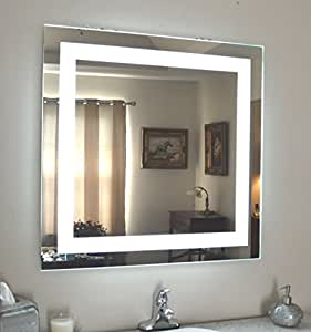 wall mounted lighted vanity mirror led mam84848 commercial grade. Black Bedroom Furniture Sets. Home Design Ideas