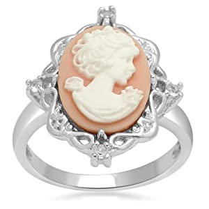 Sterling Silver Pink Cameo with Created White Sapphire Ring