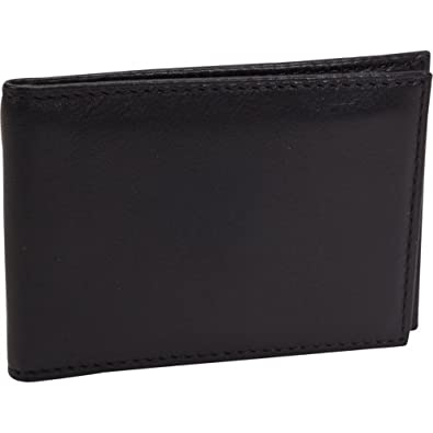 Bosca Nappa Leather Front Pocket ID Wallet w/ Clip (Black)