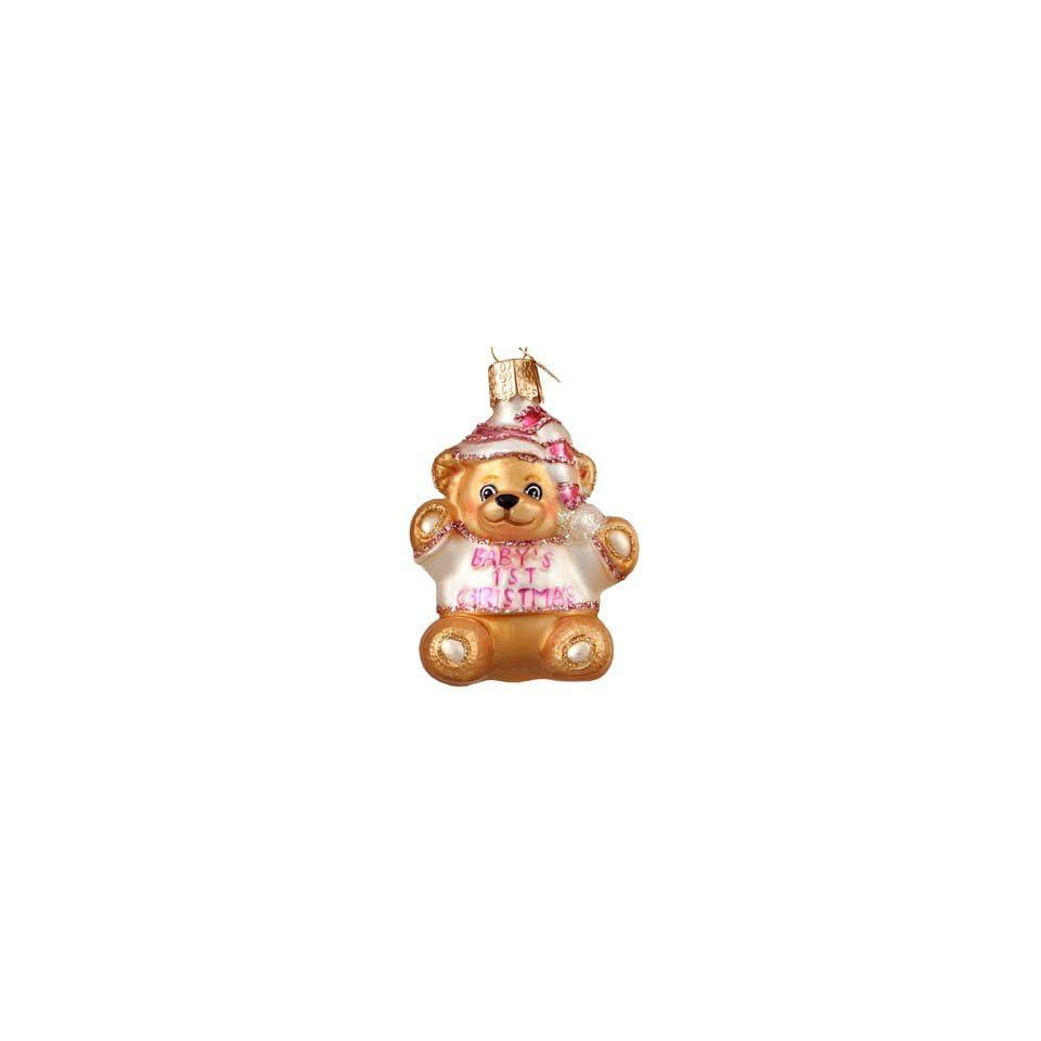 Babys First Christmas Teddy Bear   Girl Christmas Ornament