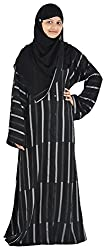Unique Collections Women's Polyester Regular Fit Abayas (Black)