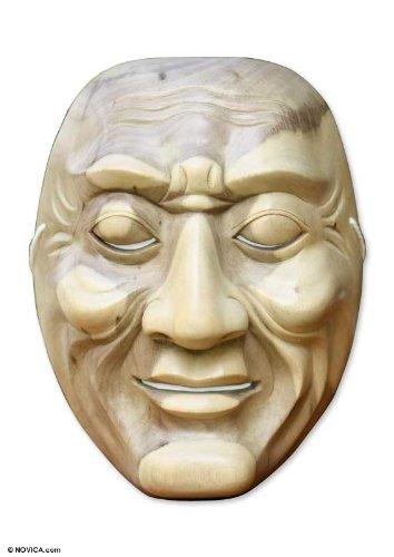 NOVICA Decorative Modern Hibiscus Wood Mask, Beige, 'Anger'