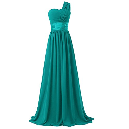 Ouman Women's Chiffon One Shoulder Bridesmaids Dresses Medium Lake Green