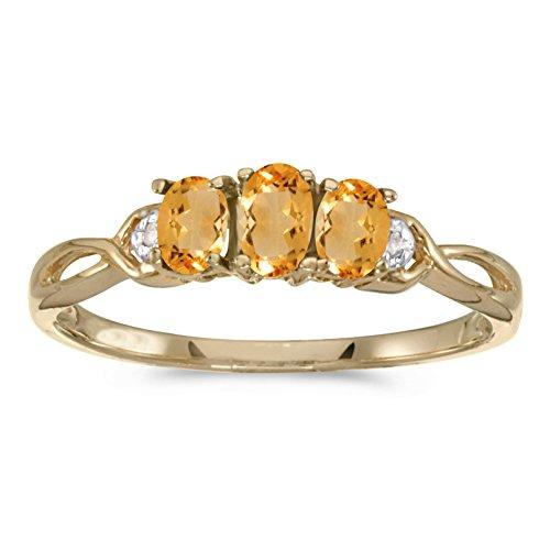 0.42 Carat Ct 10K Gold Oval Yellow Citrine Diamond 3 Three Stone Infinity Promise Engagement Fashion Ring - Yellow-Gold, Size 7.5