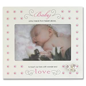 Lawrence Frames Cream and Pink Polka Dot 4 by 6-Inch Picture Frame, Baby and Shoes Design