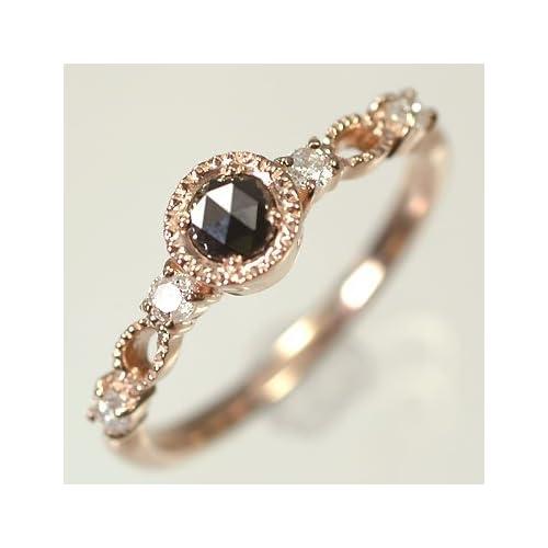 [キュートジュエリー]Cute jewerly ダイヤモンド 指輪 K10PG ブラックダイヤ&ダイヤ0.11ct ローズカットリング 10