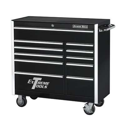 Extreme Tools EX4111RCBK 11 Drawer Roller Cabinet with Ball Bearing Slides, 41-Inch, Black High Gloss Powder Coat Finish