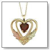 Golden Heart Garnet Pendant
