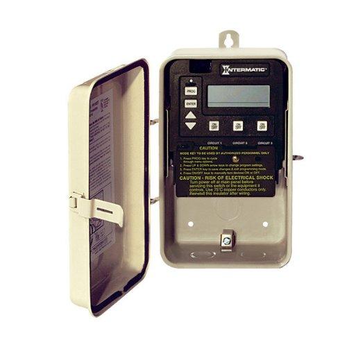 Intermatic Pe153F - Mini Pe Series Digital Pool Or Spa Control - P1353Me Mechanism In Nema 3R Steel Case - Beige Finish - 3-Spst - 120 Or 240 Volt