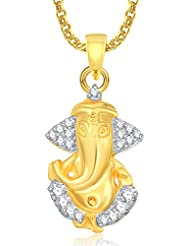 Ganpati God Pendant With Chain Lockets For Men And Women Gold Plated In American Diamond Cz GP329