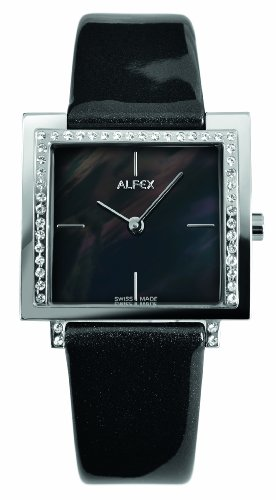 Alfex - 5684 _ 821 - Ladies Watch - Analogue Quartz - Mother of Pearl Dial Black Leather Strap