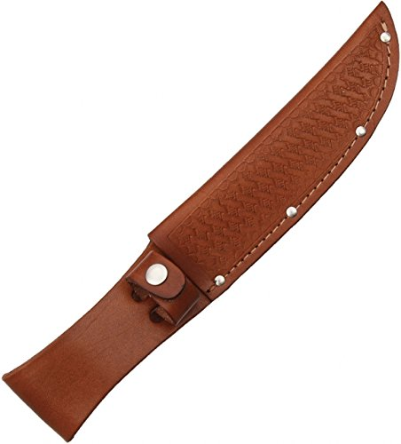 Sheath Fixed Knife Sheath, Brown basketweave leather,Fits up to 6in blade