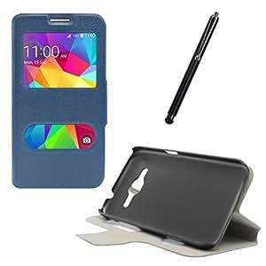 DMG Sview Call Case Vip for Samsung Galaxy J5 J500 (Blue) + Touch Screen Stylus