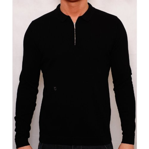 Peter Werth Mens Black P1L06011 Penn Jumper Zip Collared Embroidered Logo Cotton Black X-Large