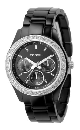 Fossil ES2157 Ladies Stone Set Bezel Multi Dial Black Acrylic Watch