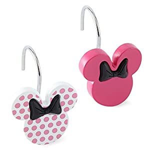Disney Minnie Mouse Shower Curtain Hooks Set 12 Pink W Dots Home Kitchen