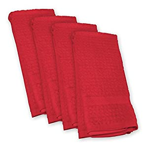 DII Waffle Terry Towel, Red, Set of 4