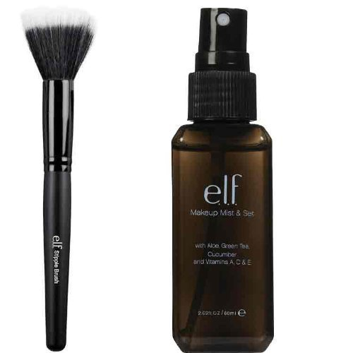 elf Makeup Mist and Set, Clear, 2.02 Ounce and Stipple Brush (Elf Set Spray compare prices)