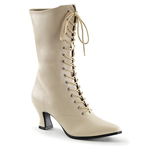 Womens-Cream-Victorian-Boots-with-Lace-Up-Front-and-2-Inch-Kitten-Heels