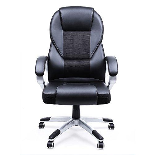 songmics noir chaise fauteuil de bureau chaise pour ordinateur hauteur r glable simili cuir. Black Bedroom Furniture Sets. Home Design Ideas