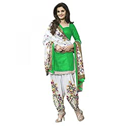 SRP Fashion Selection Women's Printed Poly Cotton Dress Material (GREEN)