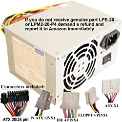 Genuine ATXPowerSupplies brand (NOT A SUBSTITUTE) LPM2-20-P4 400W Power Supply for HP Pavilion & Media Center 0950-3426, 794n, 0950-3623, 7965, 0950-3751, 7975, 0950-3961, 854, 5184-3961, 854n, 7920, 864, 864n, 876x, 884, 884n, 886c, 894c, 6329, 896c, 6330, 9800, 6331, m300y, 6333, xt860, 6336, xt865, 6337, xt878, 6340, xt958, 6343, xt959, 6346, xt978, 6350, 6351, 6353, 6355, 6356, 6357, 6360, 6370Z, 6408, 6409, 6460, 6465, 6466, 6468, 6470Z, 6475Z, 7935, 8400, 8500, 8562, 8565C, 8662C, 8700A, 8700I, 8755C, 8756C, 8766C, 8775C, 8776C, 854n, 9600, 9600A, 9600I, 9686C, XL761, XP789, 0950-4106, 8533Z, 740n, 8543Z, 8550C, 8555C, 7970, 8556C, 8560C, 8562, 8565C, 8566C, 8570C, 8575C, 8576C, 8578C, 8580C, 8586C, 512n, 8590C, 8595C, 8650C, 8652C, 8655C, 8656C, 8660C, 8662C, 8665C, 8668C, 8670C, 8676C, 8693C, 8750C, 8754C, 8755C, 8756C, 8760C, 8762C, 8765C, 8766C, 8770C, 6351, 6353, 6355, 6356, 6357, 6360, 6370Z, 6408, 6409, 6460, 6465, 6466, 6468, 6470Z, 6475Z, 7935, 8400, 8500, 8562, 8565C, 8662C, CTO