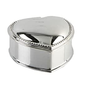 Sophia Ladies Gifts Collection - Heart Shaped Jewellery/Trinket Box - Silverplated with a Beaded Edge
