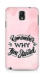 AMEZ remember why you started Back Cover For Samsung Galaxy Note 3