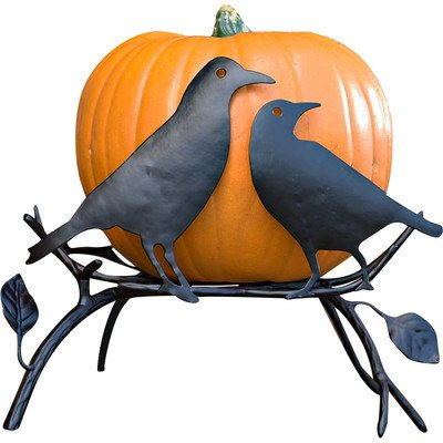 Halloween Pumpkin Holder with Ravens on Branch (Halloween Cutouts For Pumpkin Carving)