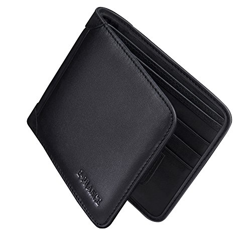 E-PRANCE Men's High Quality Soft Cowhide Leather Fashion Business Casual Wallet with Multiple Card Slot, ID Window