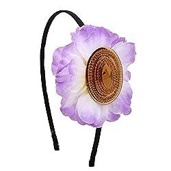 Sparkling Stone Big Flower Purple Hairband/Headband