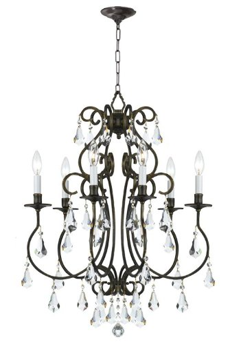 5016-EB-CL-MWP Ashton 6LT Chandelier, English Bronze Finish with Clear Hand Cut Crystal
